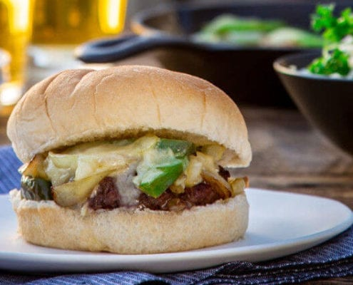 Philly Cheesesteak Smothered Burgers