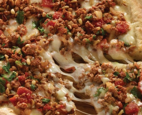 Turkish Pizza with Red Hot Spiced Lamb and Tomatoes