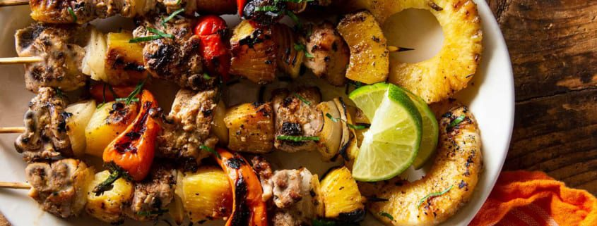 Caribbean Chicken Thigh Kebabs